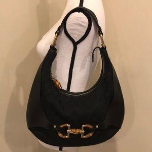 Gucci GG Bamboo Leather Canvas Hobo Bag Handbag